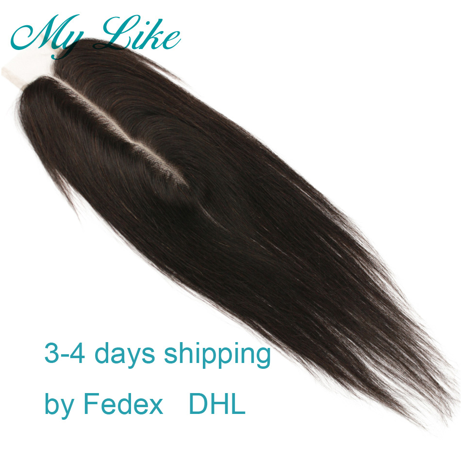 My Like 2x6 Closure Indian Straight Lace Closure Non-remy Hair Extension Human Hair Closure Middle Part With Baby Hair 8