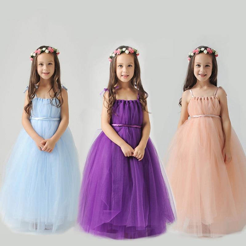 2-10Y royal princess dress floor-length strapless girls pageant dress for birthday party costume shoulderless flower girl dress
