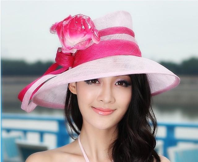 Nuevo 2015 mujeres del Verano Vestido de Kentucky Derby Boda Sinamay Ala Ancha Floppy Flores de La Cinta del Sombrero Rojo Rosa Envío Gratis
