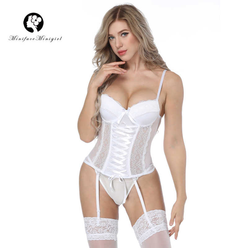 Minifaceminigirl Wit Kant Bustier Vrouwen Overbust Push Up Corset Sexy Femme Lace Up Lingerie See Through Korsetten Bustiers
