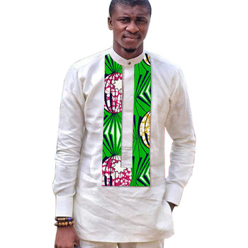African fashion men's long shirts white with print Ankara tops dashiki shirt men stand collar Ankara shirt wedding wear фото