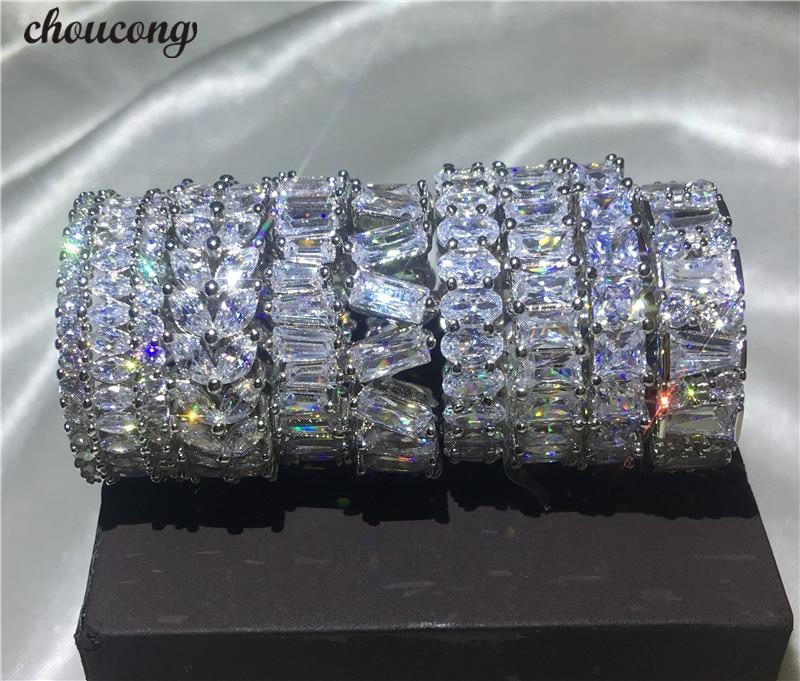 Choucong 9 Styles bague de doigt éternelle 5A zircon Cz 925 en argent Sterling bagues de fiançailles de mariage pour les femmes hommes bijoux cadeau