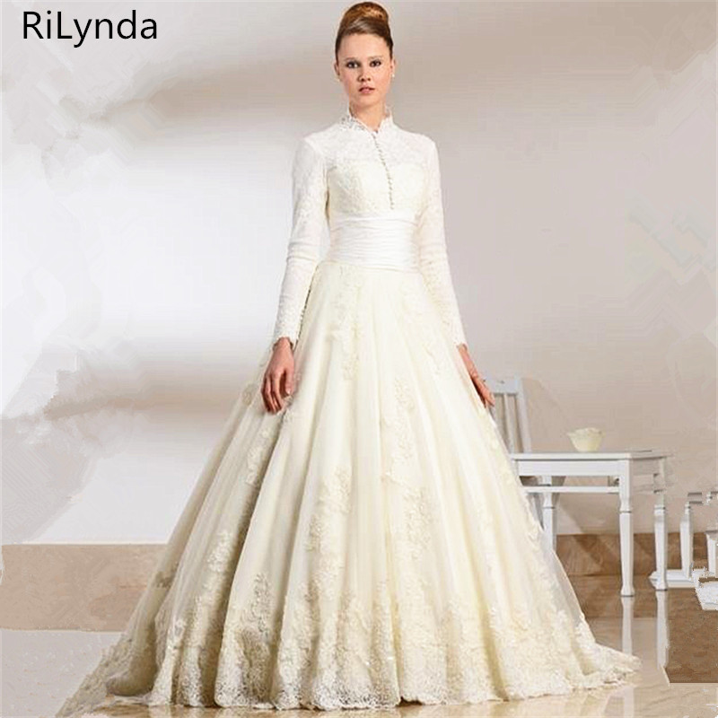 NEW Lace Muslim Wedding Dress Ball Gown Floor Length High Neck Long Sleeve Muslim Bridal Wedding Dress vestido de festa gown