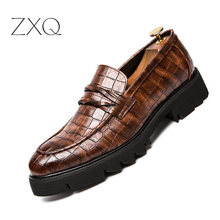 New Design Men Platform Loafers Vintage Style Brogues Oxford Shoes Height Increasing Slip On Wedding Dress