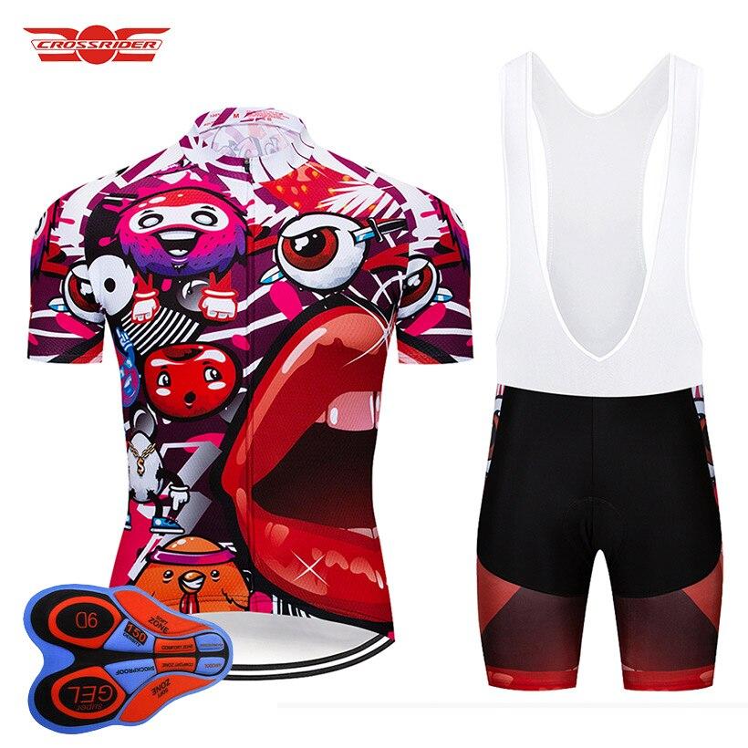 Crossrider 2018 Pro Cycling Team Jersey Court 9D ensemble VTT Vélo Vêtements Ropa Ciclismo Bike Wear Vêtements Hommes Maillot Culotte