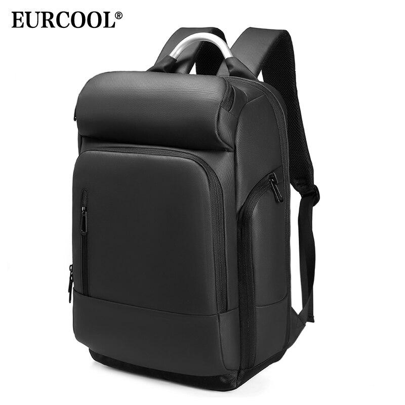 EURCOOL 15,6 рюкзак для ноутбука черный бизнес мужской Mochila usb зарядка функциональный рюкзак непромокаемый рюкзак для путешествий для мужчин n1877