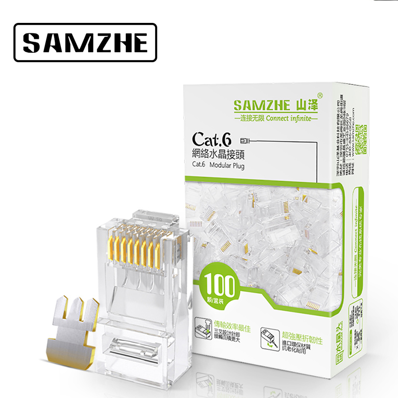 SAMZHE Cat6 RJ45 Modular Plug 8P8C Connector for Ethernet Cable,Gold Plated 1Gbps CAT 6 Gigabit Bulk Ethernet Crimp Connectors imc hot 10 pcs rj45 8p8c double ports female plug telephone connector