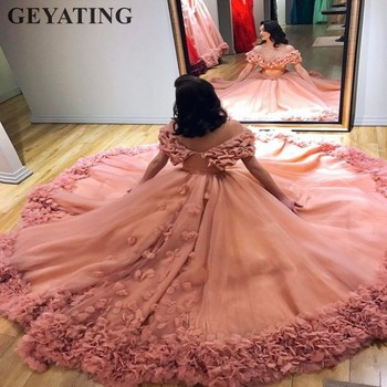 Dust Pink Quinceañera Vestidos 3D flores De hombro abultado tul vestido De bola Vestidos De 15 Anos dulce largo 16 Vestidos Rosa kleid