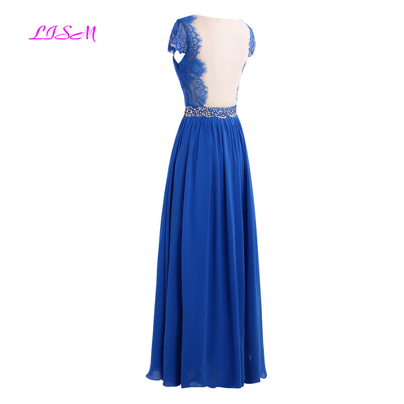 Real Photo Royal Blue Evening Dress 2019 New Lace Beaded Prom Dresses O-Neck Chiffon Long Formal Party Gowns Custom Made