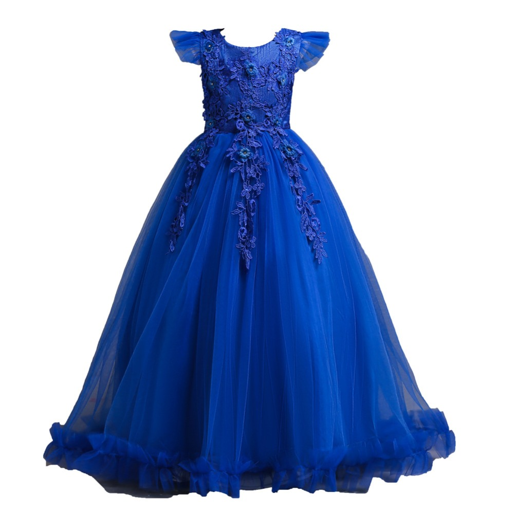 Elegant Lace Princess Ball Gowns Kids Formal Dress for Girls Yellow Red Pink Royal Blue Party Dresses Size 5 To 12 13 14 15 16