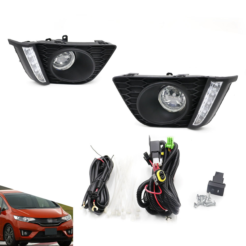 CNSPEED Car styling Halogen clear Lens Bumper fog lights/fog lamps for HONDA 2014 Driving Lamps+DRL Daytime Running Lights for suzuki sx4 gy hatchback 2006 2012 car styling fog lamps halogen fog lights 1set