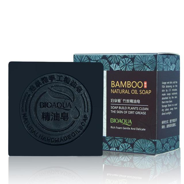Bamboo charcoal handmade soap Treatment skin care natural Skin whitening soap deep cleansing oil-control face hair care Bath 1