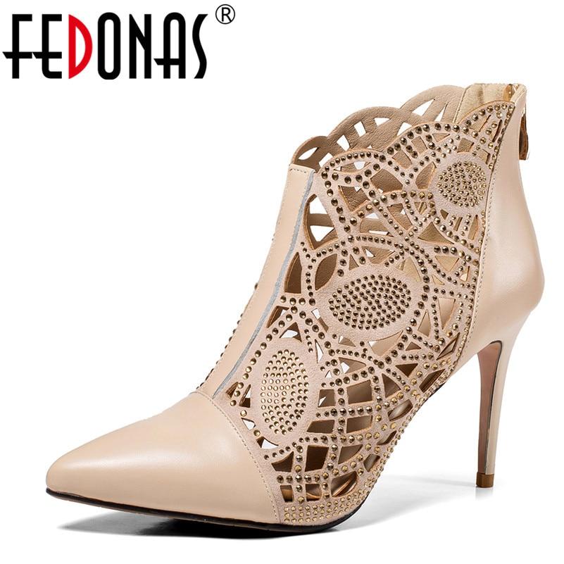 FEDONAS Women High Heels Footwear Gladiator Zipper Genuine Leather Sandals Female Wedding Sexy Shoes Woman Stiletto