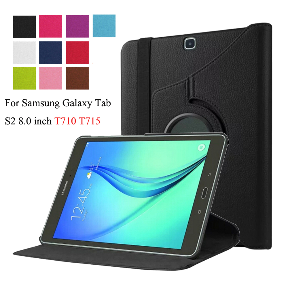 For Samsung Galaxy Tab S2 8.0 inch T710 T713 T715 T719 SM-T710 SM-T715 Tablet Case 360 Rotating Bracket Flip Leather Cover +Pen new ultra slim waterproof soft silicone rubber tpu protective shell case cover for samsung galaxy tab s2 8 0 sm t710 t715 tablet