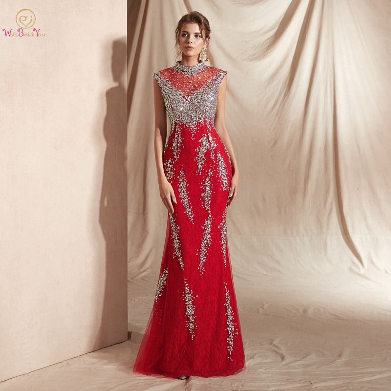 Graduate Prom Dresses Mermaid Elegant Long Evening Party Red Lace Crystal Beading Gown 2019 High Neck Sleeveless Walk Beside You