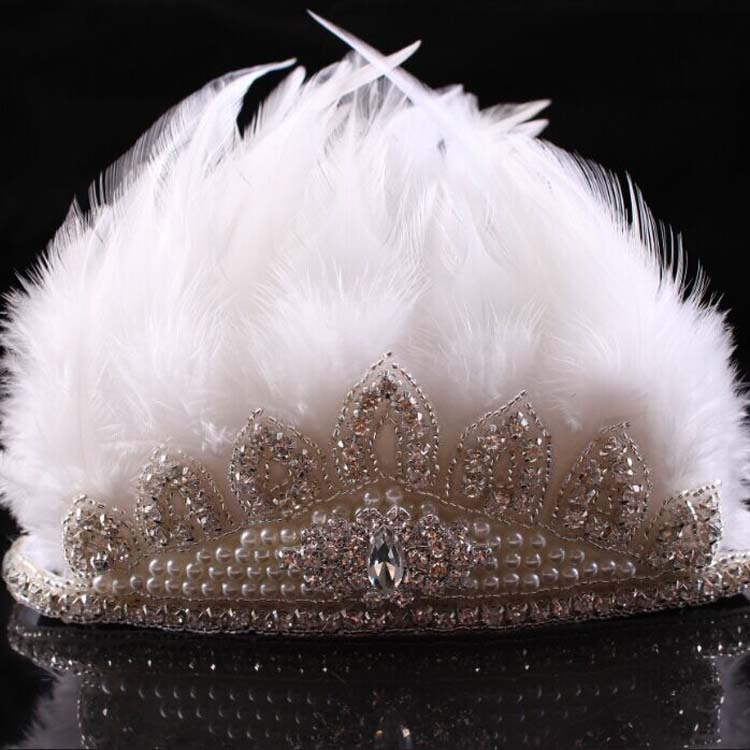 New Rhinestone Feather Crown Boho Headband Bohemian Headband Girls Feather Pixie Crown Headband Photo Prop Hair Accessories 1pc