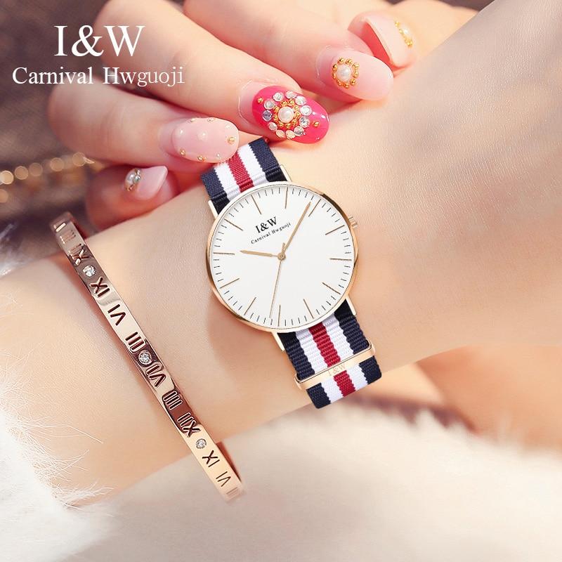 2018 карнавал синтетический сапфир нейлон кварцевые женские часы Топ бренд класса люкс минималистичный модный Ультра тонкий циферблат Reloj ...