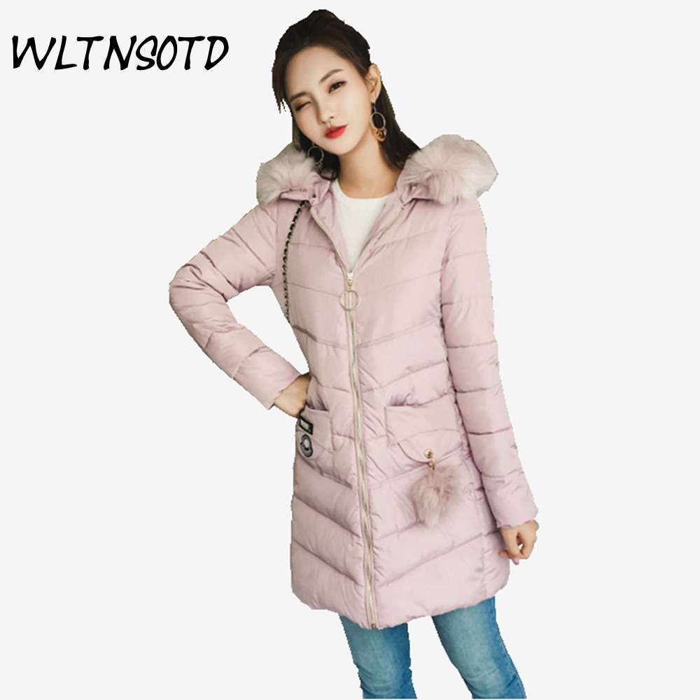 2017 winter new cotton coat women long Slim warm Big Fur collar hooded jacket Female Hairball fashion Parkas 2017 winter new cotton coat women slim long hooded thick jacket female fashion warm big fur collar solid hem bifurcation parkas