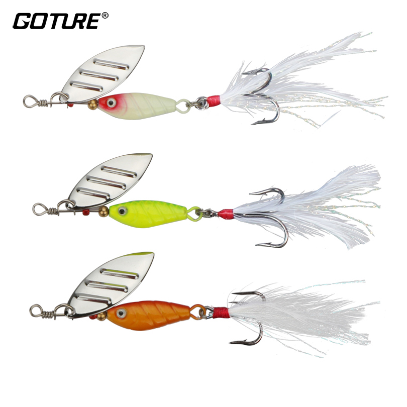 Goture 10g Spinnerbait Carp Fishing Lure Metal Spoon Wobblers Spinner Bait With Feather Artificial Bait Mepps 3 Colors goture fishing trout spoon metal lure bass fishing spinner bait 7g 10g stainless mustad hooks with feather artificial bait