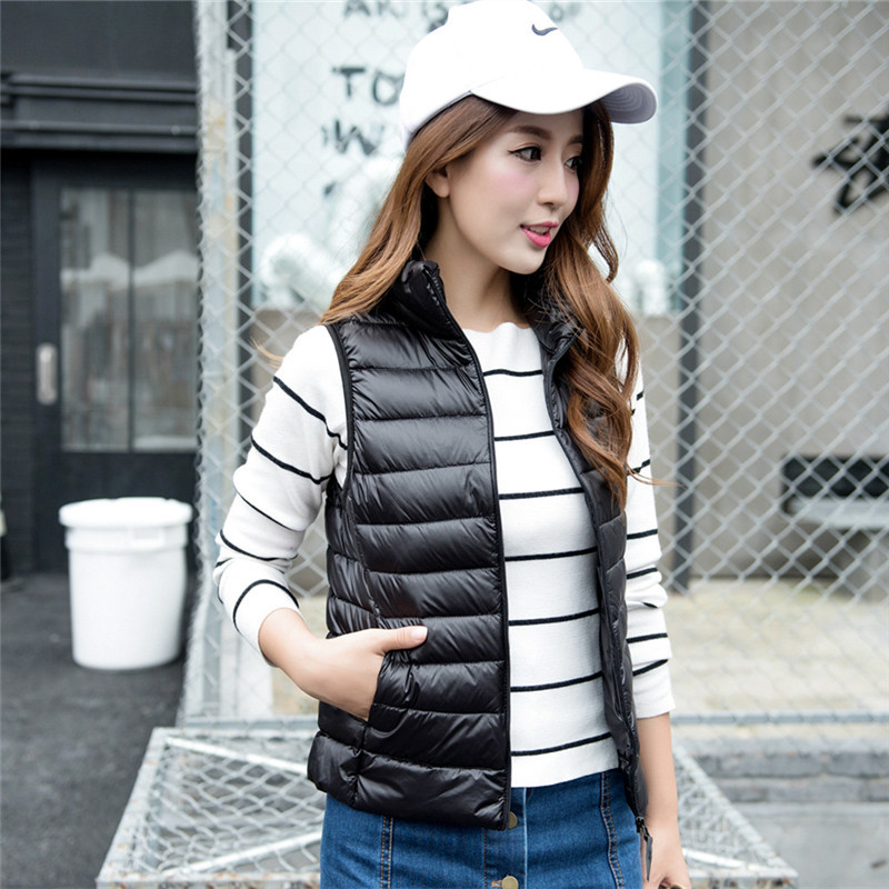 2016 Autumn Winter Down Vest Female S/3 XL Slim Light Sleeveless Jacket Women Stand Collar Fashion Solid colete feminino JA596