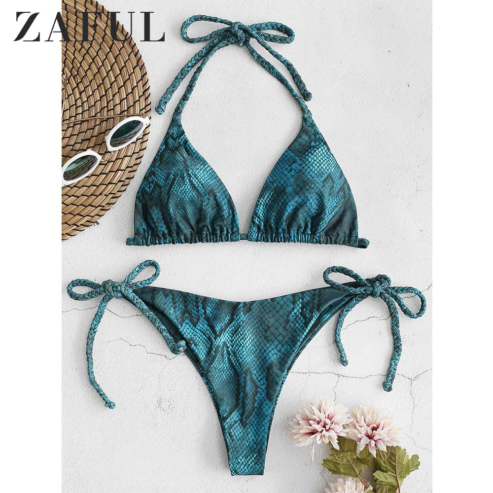 ZAFUL Snakeskin Print Braided Halter Bikini Set Low Waisted Snake Print String Bikini Swimsuit Bathing Suit Women Swimwear 2019