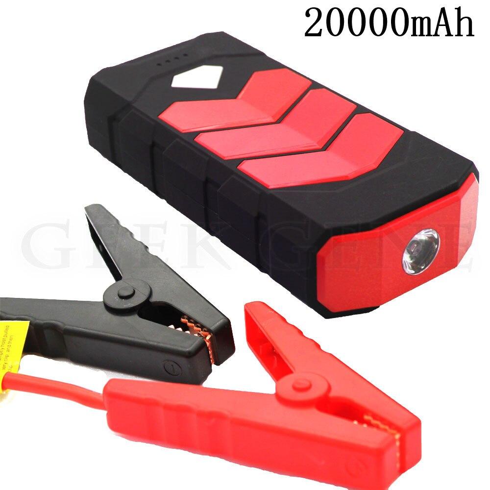 Высокая Ёмкость 20000 мАч пусковое устройство Мощность джемпер Портативный 12 В автомобиля Зарядное устройство для автомобиля Батарея Booster Ди...