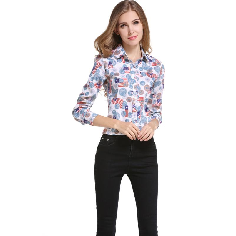 Newly Design Fashion Women OL Tops American Flag Print Full Sleeve Turn-Down Collar Button Shirt Blouse 160708