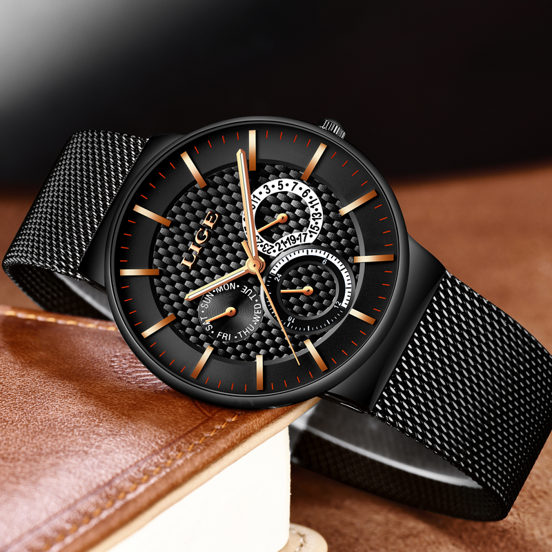 LIGE Luxury Brand casual Watches Men Simple Business Quartz Watch Man Mesh strap Date Fashion Black Clock relogio masculino+ 2017 men xinge brand business simple quartz watches luxury casual leather strap clock dress male vintage style watch xg1087