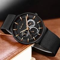 LIGE Luxury Brand Casual Watches Men Simple Business Quartz Watch Man Mesh Strap Date Fashion Black