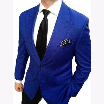 2017 Notch Lapel Royal Blue Groom mens Suits terno 2 Pieces Slim Fit Wedding Suits for Men Business man Suit (Jacket+Pants+Tie)