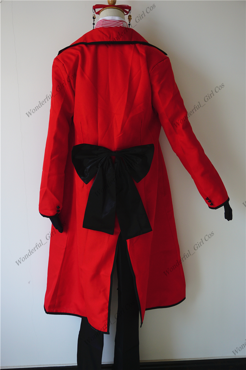 Аниме Black Butler Death Shinigami Grell Sutcliff косплей красный униформа наряд+ очки карнавал костюмы на Хэллоуин для женщин и мужчин