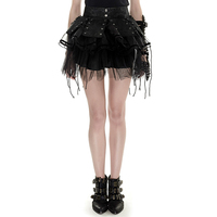 Punk Cute Lolita Mini Skirt Female Black Color Two piece Pettiskirt High Waist Women Leather Spliced Button Skirt Fashion Skirts