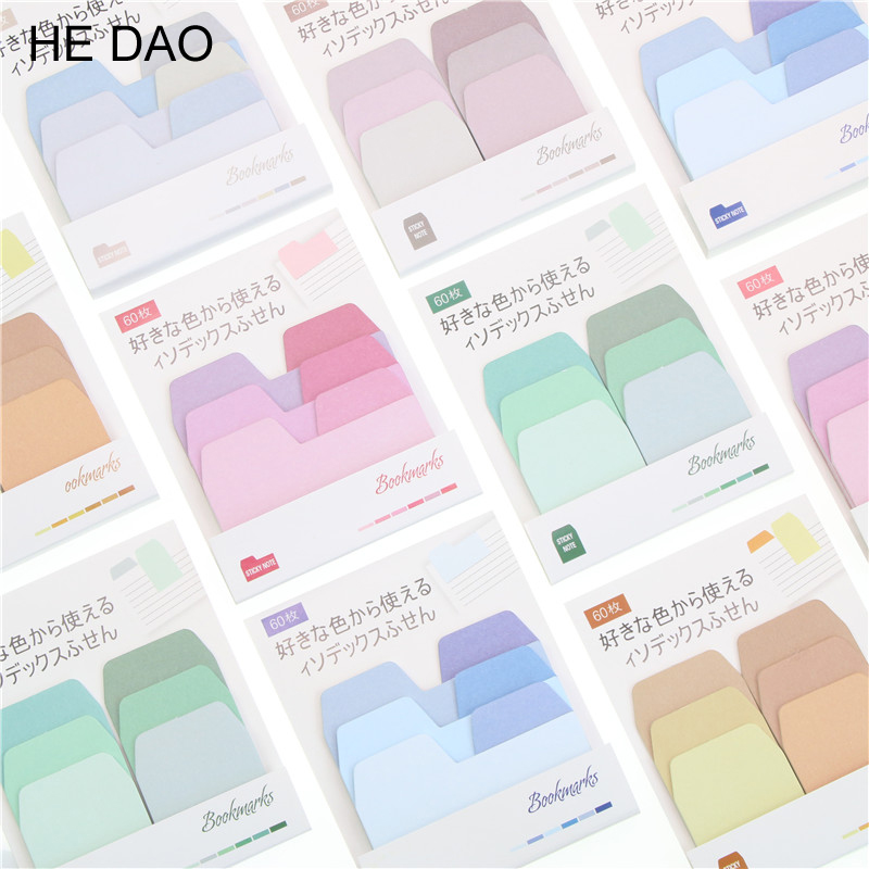 Simple Style Gradient Color Self-Adhesive N Times Indexes Memo Pad Sticky Notes Post It Bookmark School Office Stationery Supply