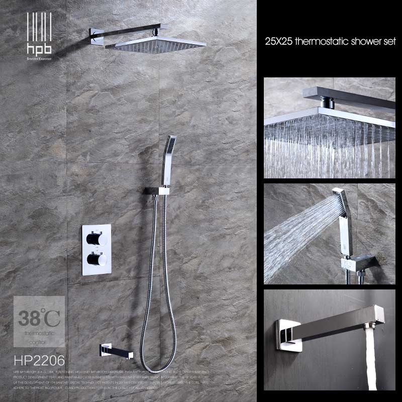 HPB Brass Thermostatic Bathroom Water Mixer Wall Mounted Bath Shower Set Faucet torneira banheiro HP2206 mojue thermostatic mixer shower chrome design bathroom tub mixer sink faucet wall mounted brassthermostat faucet mj8246