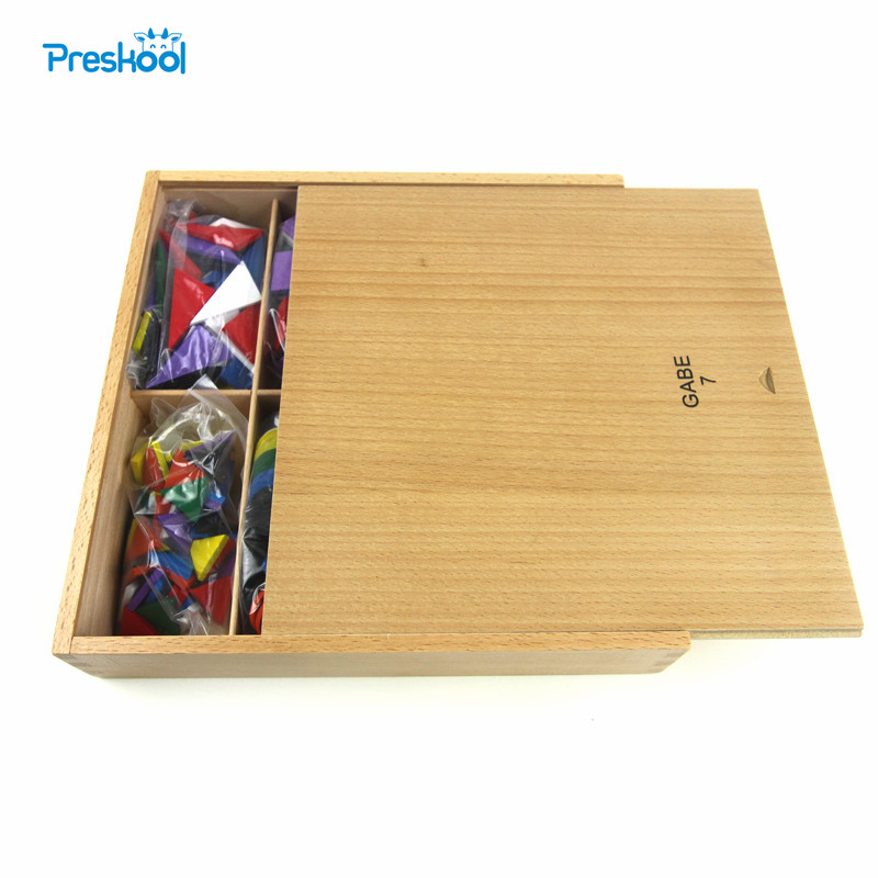 Baby Kids Toy Froebel GABE 7 Wood Colorful Geometric Shapes Blocks Learning Educational Preschool Training Brinquedo Juguets