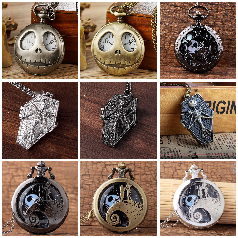 89a575db65f2 12 Design Tim Burton The Nightmare Before Christmas Quartz Pocket Watch  Jack Skellington with Chain Necklace Flip Clock for Men