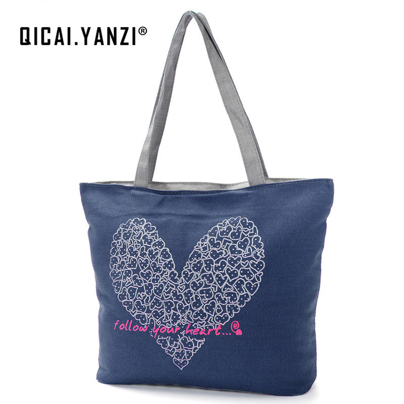 QICAI YANZI 2017 Women Handbag Canvas Shopping Bag Grocery Shoulder Crossbody Messenger Bags Durable Design Travel