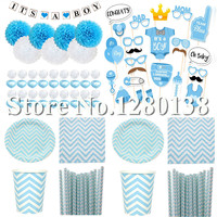 Gender Reveal Party Tableware Decorations Blue Paper Plates Cups Straws Napkins Paper Flowers Bunting Banner For