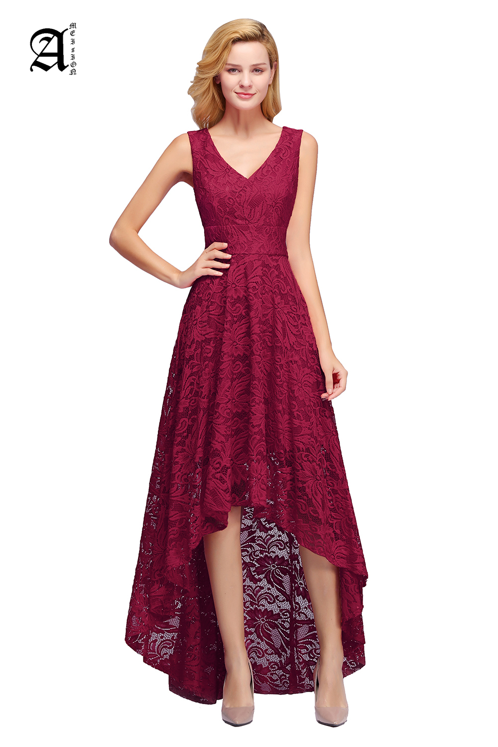 Elegant Burgundy Sexy Lace Short Evening Dress 2019 Plus Size  Gown