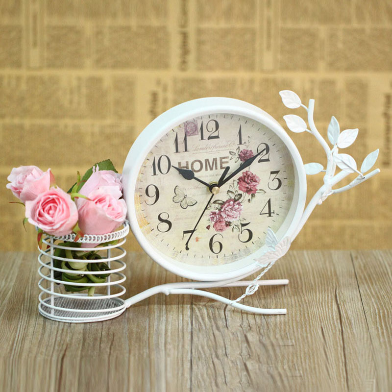 Superb Antique Black White Metal Desk Clock Reloj Europe Vintage Round Table Clock  Retro Decorative Clocks Interior