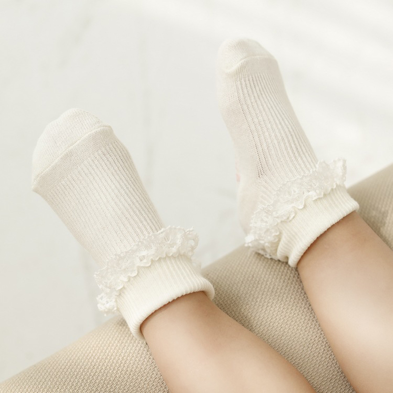 Cotton Newborn Socks Baby Girl Ankle Length Ruffles Toddler Socks 0-4 Years
