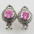 New Pink Simulated Sapphire Woman 925 Sterling Silver Crystal Earrings TE509