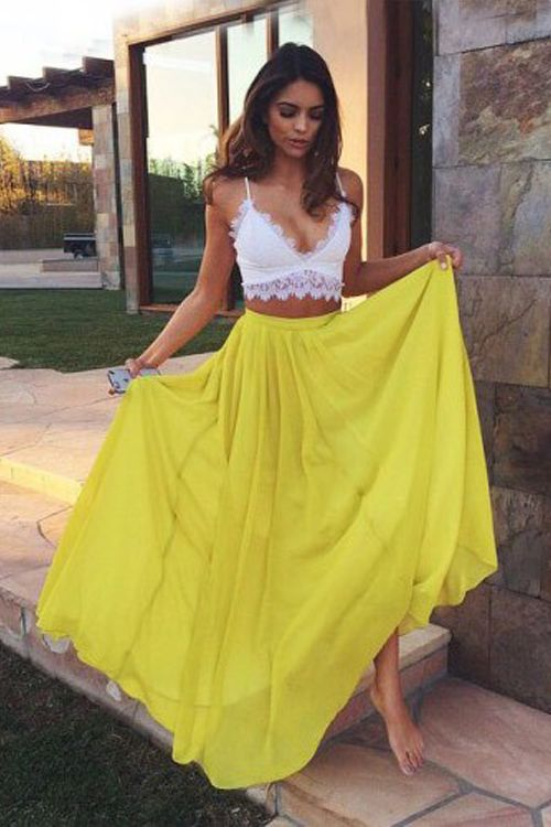 2017 Sexy Two Pieces Prom Dress White and Yellow Lace Bodice chiffon 2  Piece Prom Dresses Party Dress robe de bal longue Vestido