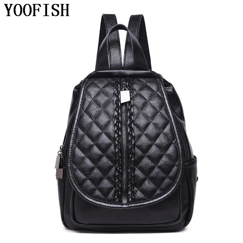 все цены на YOOFISH Fashion Designer Cow Genuine Leather Women Backpack Drawstring School Bags For Girls Female Travel Lady Backpack Bags