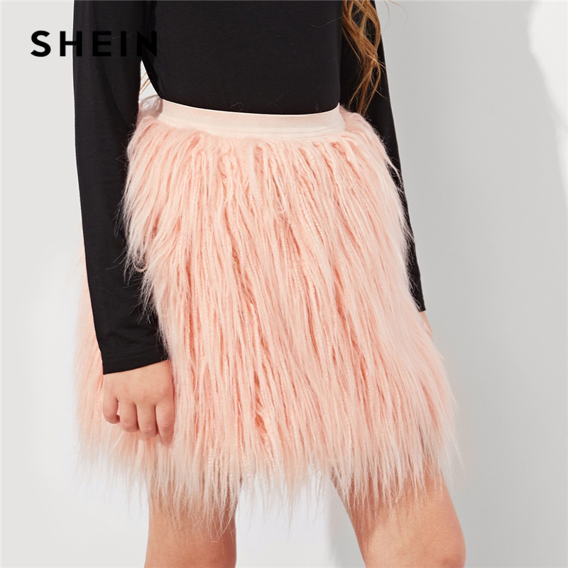 SHEIN Girls Pink Solid Elastic Waist Faux Fur Cute Skirt Children Clothes 2019 Spring Fashion Casual Mini Skirt Girl Kids Skirts high waist faux leather pleated skirt