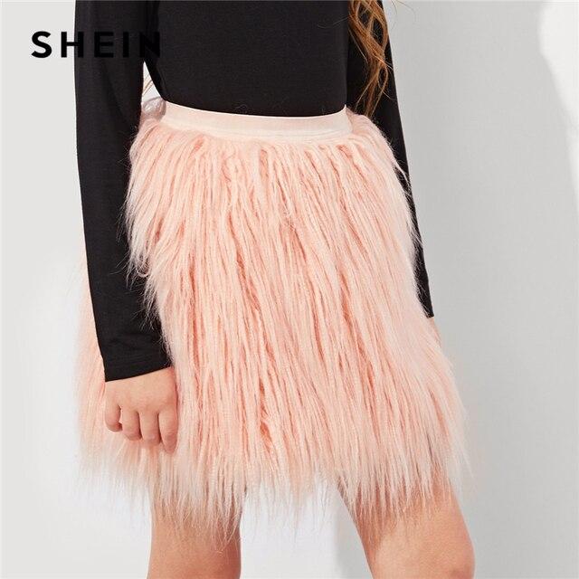a56749f13a25b SHEIN Girls Pink Solid Elastic Waist Faux Fur Cute Skirt Children Clothes  2019 Spring Fashion Casual Mini Girl Kids Skirts