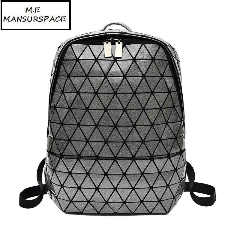 все цены на MANSURSPACE Fashion Men And Women Models PU Magic Color Shoulder Bag Geometric Rhombic Sequins bao Bag Fashion Travel Backpack
