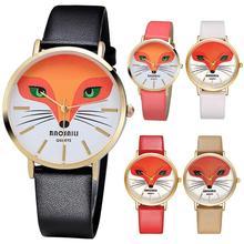 1 pc Or Renard Placage Filles Femmes Montres horloge cadeau Montre à quartz PU cuir rond analogique mode casual boucle H5