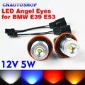 1 Компл. (2 Шт.) 12 В 5 Вт Белый/Синий/Красный/Желтый СВЕТОДИОД Маркер Angel Eyes Bridgelux Чип для BMW E39 E53 E60 E61 E63 E64 E65
