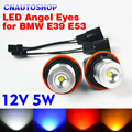 1 Conjunto (2 Peças) 12 V 5 W Branco/Azul/Vermelho/Amarelo Bridgelux Chip de LED Marcador Angel Eyes para BMW E39 E53 E60 E61 E63 E64 E65